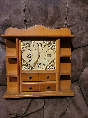 Vintage Clock By United Clock Co. With Selves Wall / Table Top Frame Working