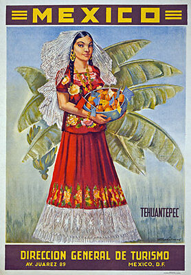 TX17 Vintage MEXICO Tehuantepec Oaxaca Mexican Travel Poster Re-Print A4