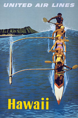 TX36 Vintage  HAWAII  United Air Lines Travel Tourism Poster Re-Print A4