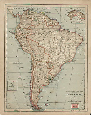 South America by A.von Steinwehr Vintage 1876 Original Antique Map