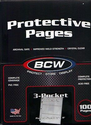 *100 Pages*bcw*3-Pockets Currency Collectors Holders Sleeves Pages