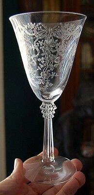 "LOVELY VINTAGE FOSTORIA ""SATIN RIBBONS"" WATER GOBLET"
