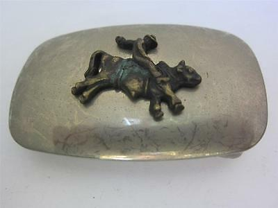 Belt Buckle Vintage Bull Riding FIgural Silver Brass Western Cowboy 1970s