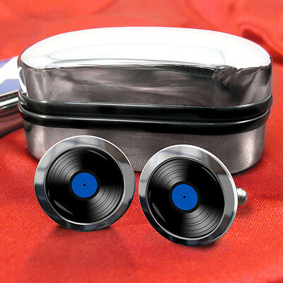 Vinyl Record DJ Cufflinks with 5 optional label colours in a chrome giftbox