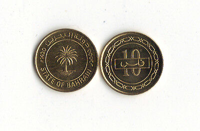 *world Foreign Coins*middle East*bahrain*10 Fils Ah1420-2000*palm*unc*lot O14*