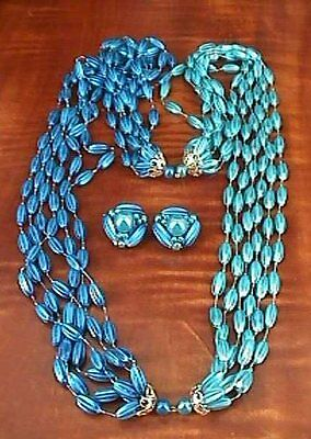 Vintage HONG KONG Blue and Turquoise Color Plastic Beads NECKLACE & EARRINGS