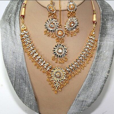 Schmuckset Collier Ohrringe Tikka Gold Weiß Bollywood Party Brautschmuck Indien