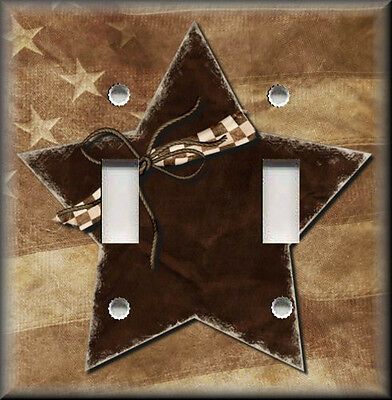 Metal Light Switch Plate Cover - Brown Country Star - Primitive Farmhouse Decor