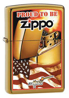 Zippo Claudio Mazzi Brushed Brass Flag Windproof Lighter RARE