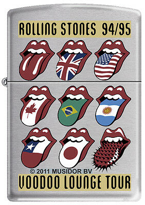 Zippo Rolling Stones Voodoo Lounge Tour Brushed Chrome Windproof Lighter RARE