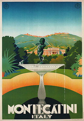 TV37 Vintage 1930 Montecatini Tuscany Italian Italy Travel Poster Re-Print A4