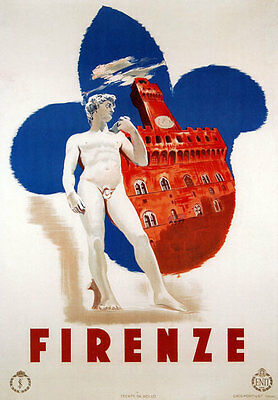 TV38 Vintage 1935 Firenze Florence Italian Italy Travel Poster Re-Print A4