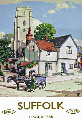 TU47 Vintage Suffolk LNER Railway Classic Travel Poster Re-Print A4