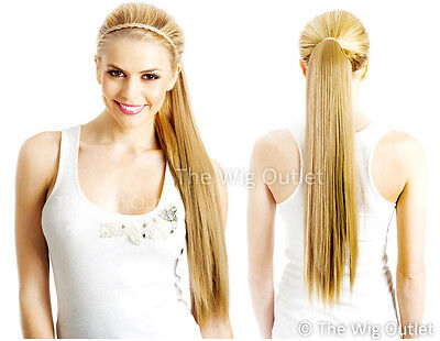 "DELUXE 60cm (24"") WRAP AROUND LONG PONYTAIL EXTENSION Soft Hair Hairpiece Comb"