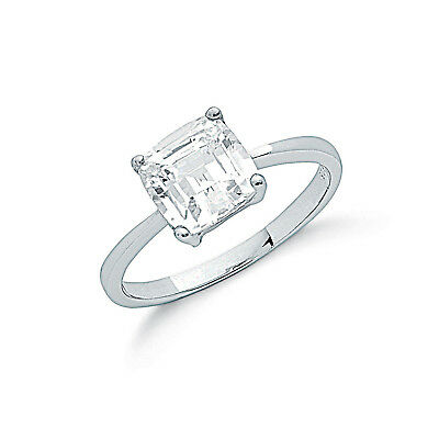 Princess Cut Solitaire Ring Sterling Silver Engagement Ring Rhodium Plated