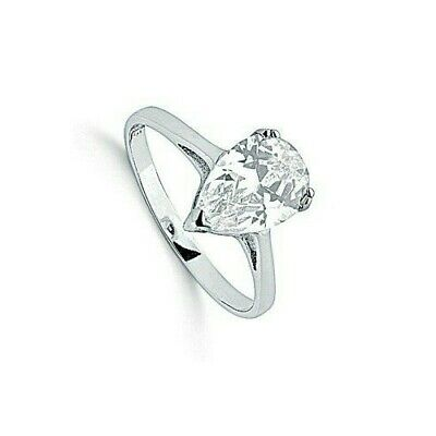 Solitaire Ring Pear Ring Sterling Silver Engagement Ring Rhodium Plated
