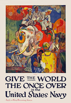 W69 Vintage WWI See The World US Navy Recruitiment Poster WW1 Re-Print A4