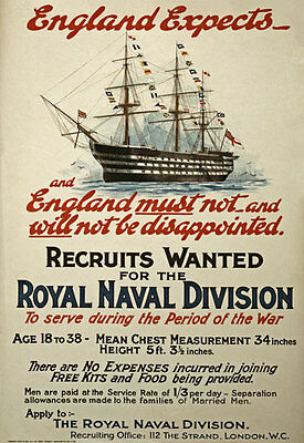 W99 Vintage WWI British Royal Navy War Recruitment Poster Re-Print WW1 A4