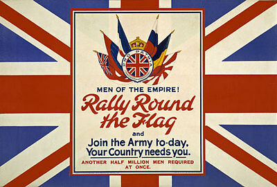 WA4 Vintage WWI British Rally Round The Flag Recruitment Poster WW1 Re-Print A4