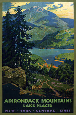 TX75 Vintage Adirondack Mountains Lake Placid American Travel Poster A1/A2/A3