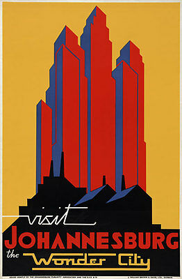 TX121 Vintage Visit Johannesburg South Africa Travel Poster Re-Print A1/A2/A3