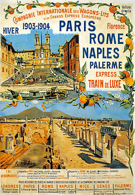 TX125 Vintage Paris Rome Naples Palerme Express Railway Travel Poster A2/A3