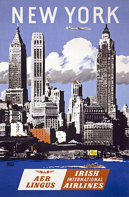TX114 Vintage New York Irish Airlines Travel Tourism Poster A4
