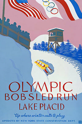 TX118 Vintage Winter Olympic Bobsled Run Travel Poster Re-Print A4