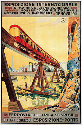 TX104 Vintage Italy Italian Suspended Railway Travel Poster A4