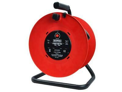 Faithfull 50m Heavy Duty Cable Reel Extension Lead 240v, 2 Plug Socket, FPPCR50M