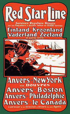 TX151 Vintage Red Star Line Cruise Shipping Travel Poster A2/A3