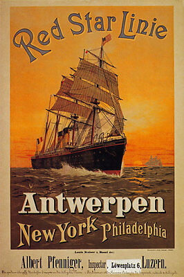 TX152 Vintage Red Star Line Antwerp New York Cruise Travel Poster A2/A3