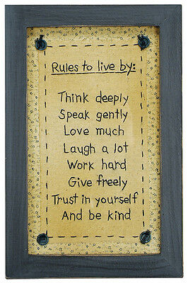 Stitcheries by Kathy Sign - Rules To Live By - Think Deeply - 29cm x 19cm