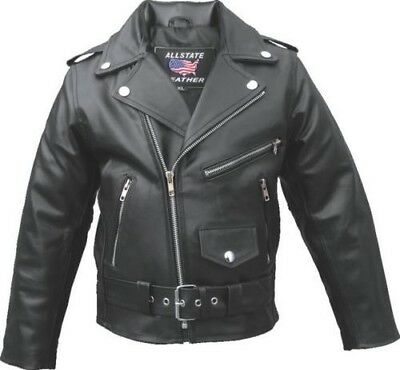 Allstate Child's Boy Kid Solid Leather Motorcycle Jacket Quilted Liner Al2801