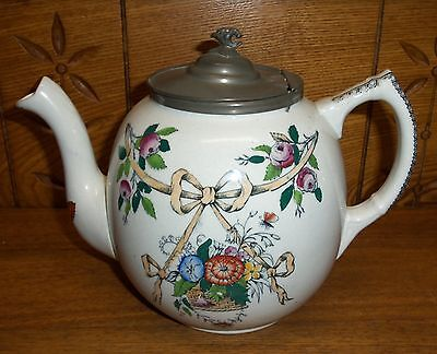 Nice Old Ironstone Teapot w/ Pewter Lid (Slightly As Is)- Ribbon & Floral Design