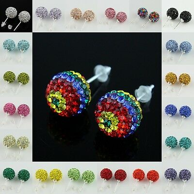 1PAIR COLORS 10MM SWAROVSKI CRYSTAL DISCO BALL AUTHENTIC 925 SILVER STUD EARRING