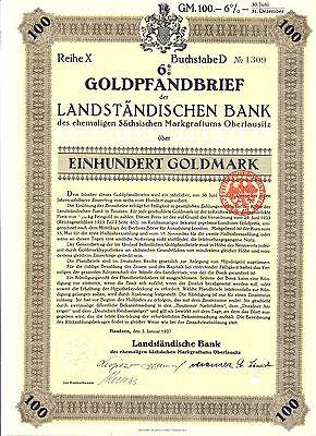 Bautzen Landständische Bank Gold Pfandbrief 100 Goldmark 1927 bond loan