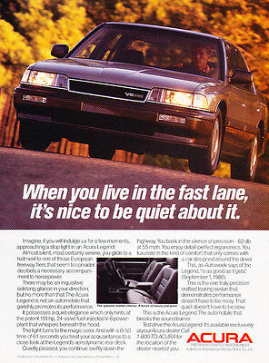1987 Acura Legend Sedan - fast lane - Classic Vintage Advertisement Ad H32