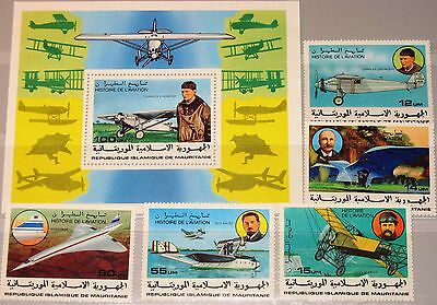 MAURITANIA MAURETANIEN 1977 576-80 Block 18 367-2 History of Aviation Planes MNH