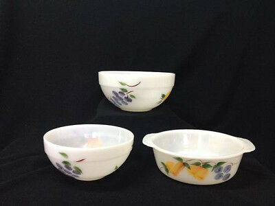 Fire King Gay Fad Fruits 2 Mixing Bowls 1 Casserole Dish Clean Bright ShinyNice