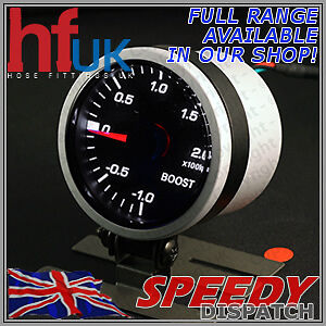 Smoked WHITE LED TURBO BOOST GAUGE 52mm Dial 2 BAR + FITTING KIT & HOLDER POD