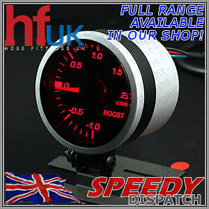 Smoked RED LED TURBO BOOST GAUGE 52mm Dial 2 BAR + FITTING KIT & HOLDER POD