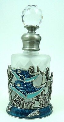 Dolphin  Pewter and Glass Perfume bottle greatly decorated