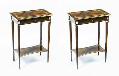 Pair Louis XVI Style Inlaid Walnut Occasional Tables