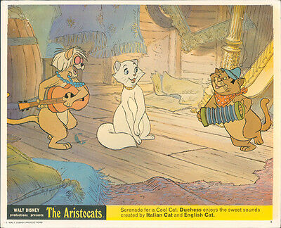 The Aristocats Original Walt Disney Lobby Card Animation Italian English Cat