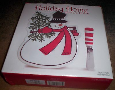 FITZ & FLOYD HOLIDAY HOME SNOWMAN SNACK TRAY WITH SPREADER - NEW