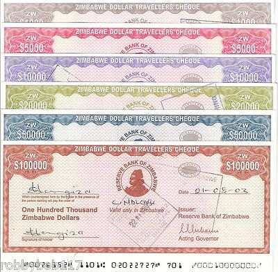 6 x ZIMBABWE Traveller's Cheques Africa World Money Used BILL Inflation Currency