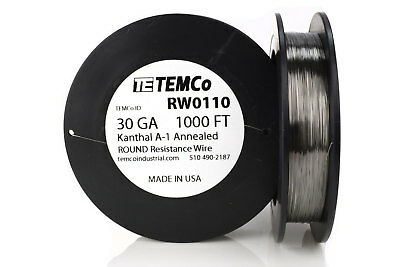 TEMCo Kanthal A1 wire 30 Gauge 1000 Ft Resistance AWG A-1 ga