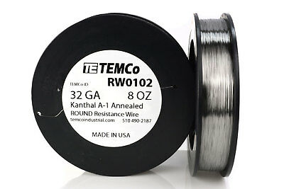 TEMCo Kanthal A1 wire 32 Gauge 8 oz (3236 ft) Resistance AWG A-1 ga