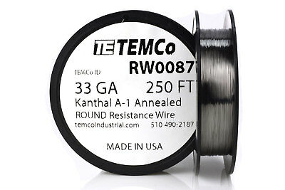TEMCo Kanthal A1 wire 33 Gauge 250 Ft Resistance AWG A-1 ga